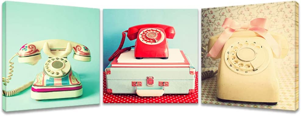 iKNOW FOTO 3 Pieces Canvas Prints Retro Telephone Digital Image Happy Phone Canvas Wrapped Wall Art Print Modern Canvas Painting Home Decor for Kids Baby Nursery Walls Decor 12x12inchx3pcs