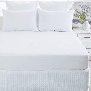Elaine Karen Fitted Waterproof Mattress Protector – Vinyl Mattress Cover, Hypoallergenic & Ultra Soft Bed Cover, Deep Pocket, Bed Protector for Bed Bugs & Dust Mite, Queen Size