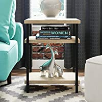 Rectangle End Table with 2 Exterior Shelves Made w/ Manufactured Wood and Metal in Sonoma Oak 23.7 H x 18 W x 14.8 D in.