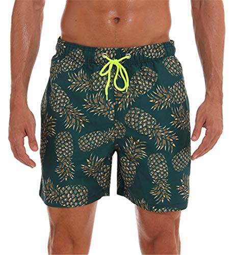 onlypuff Beach Shorts Swim Trunks with Mesh Lining Men Swimwear Swimsuits Print Pineapple Green S