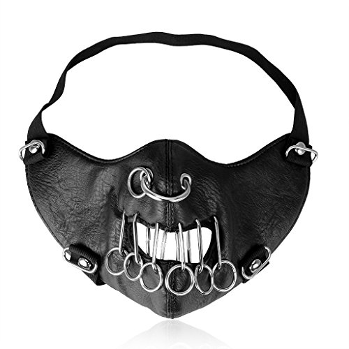 GelConnie Rock Punk Leather Mask Emo O Rings Motorcycle Biker Half Face Cosplay Mask Wind Protective Anti-Dust Outdoor Sports Mask for Men -