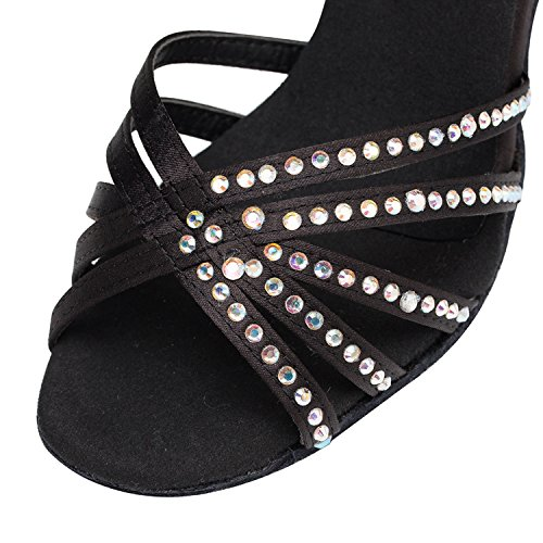 Minishion Mujeres Th154 Cristales Correa Cruzada Satin Wedding Ballroom Latin Taogo Sandalias De Baile Negro