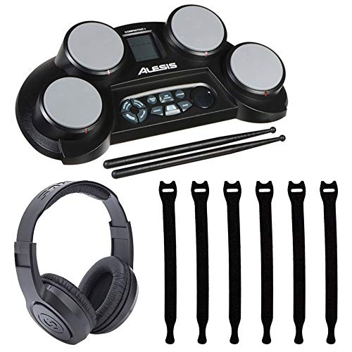 Alesis Electronic Drum Set - Alesis CompactKit 4 4-Pad Portable Tabletop Electronic Drum Kit with Drumsticks & Built-In Learning Tools + Strapeez Cable Management + Samson SR350 Over-Ear Stereo Headphones - Top Valued Bundle