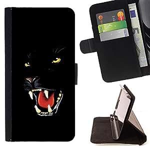 BullDog Case - FOR/Apple Iphone 6 / - / Fierce Black Panther Jaguar Cat /- Monedero de cuero de la PU Llevar cubierta de la caja con el ID Credit Card Slots Flip funda de cuer