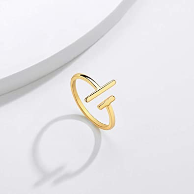 Womens 14k Gold Open Parallel Bar Rings