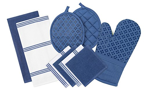 Sticky Toffee Silicone Printed Oven Mitt & Pot Holder, Cotton Terry Kitchen Dish Towel & Dishcloth, Dark Blue, 9 Piece Set - Blue Piece Cloth