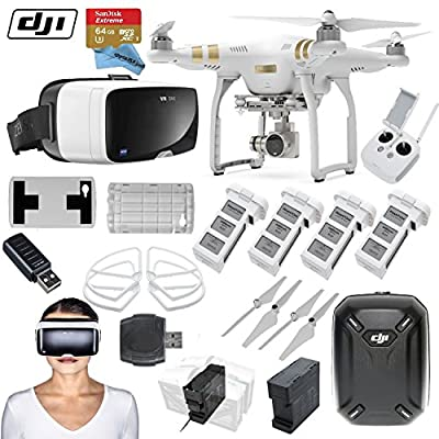 "DJI Phantom 3 Professional Quadcopter Drone Bundle with Zeiss VR One Virtual Reality Headset & FPV ""Eye in the Sky"" Package (iPhone 6/6s)"