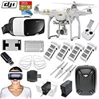 DJI Phantom 3 Professional Quadcopter Drone Bundle with Zeiss VR One Virtual Reality Headset & FPV Eye in the Sky Package (iPhone 6/6s)