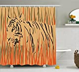 Ambesonne Wildlife Decor Shower Curtain, Tiger in The Bushes Camouflage Carnivore Predator Feline Africa Animal Art, Fabric Bathroom Decor Set with Hooks, 70 inches, Peach Orange