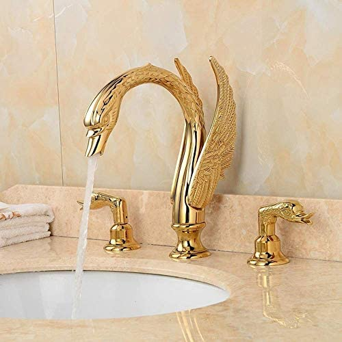 WXQ-XQ 美しい実用的な3ゴールデンスワンホットとコールドのヨーロッパのレトロな浴室の洗面台の蛇口セットミックス3ホールの銅の下でカウンター洗面蛇口セット