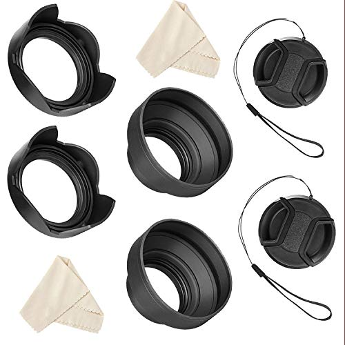 55mm and 58mm Lens Hood Set for Nikon D5600, D3400 DSLR Camera with Nikon 18-55mm f/3.5-5.6G VR AF-P DX and Nikon 70-300mm f/4.5-6.3G ED