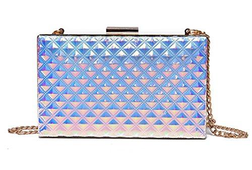 Purse Purple Grid Box Women Evening Party Holographic Clutch Crossbody Handbag for qCn5w77a