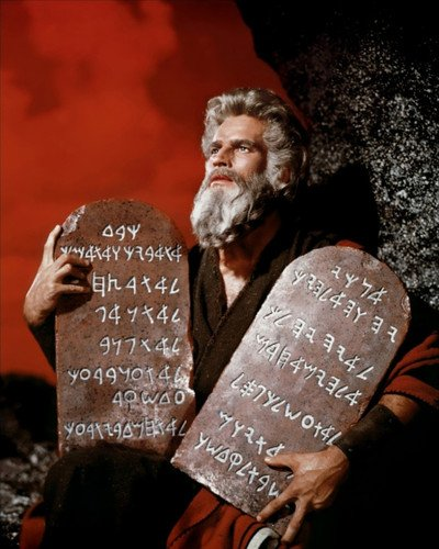 Commandments Ten Photo - The Ten Commandments Charlton Heston as Moses holding the tablets red sky 8x10 Promotional Photo
