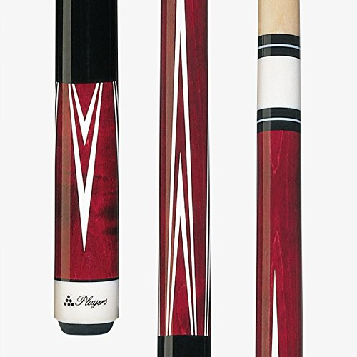 (Players C-801 Classic Crimson Birds-Eye Maple with White Outline Points Cue,)
