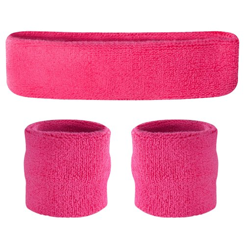 (Suddora Neon Pink Headband/Wristband Set - Sports Sweatbands for Head and)