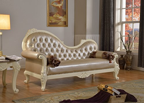 Meridian Furniture 674-CH Madrid Leather Upholstered Solid Wood Chaise Lounge with Rolled Arms, Crystal Button Tufting and Traditional Hand Carved Designs, Rich Pearl White Finish with Silver Accents
