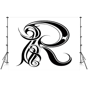 Amazon com : Letter R Stylish Backdrop, Gothic Medieval Inspired