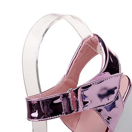 Amoonyfashion Donna Open Toe Tacchi Alti Sandali Uncinetto-elastico Rosa