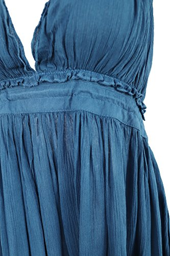 Short V Vivimos Mini Halter Summer Neck Deep Women Blue Dresses Sexy Patchwork R q1pUxvgwq