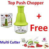 A TO Z SALES Hand Mixer, Vegetable and Fruit Chopper with Easy Push and Close Button with Pearl berry Multi cutter(Green)