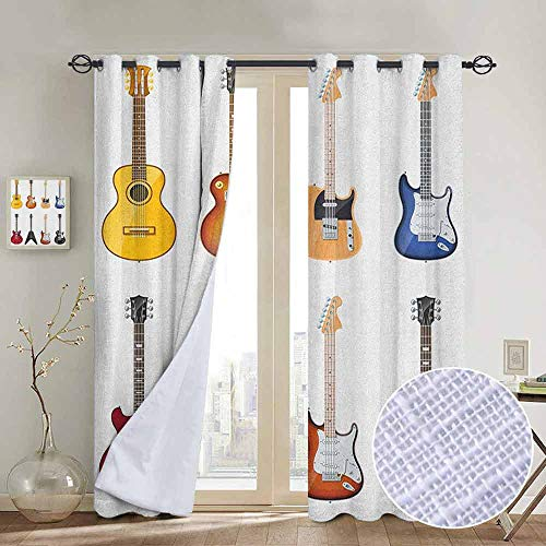 NUOMANAN Bathroom Curtains Guitar,A Wide Variety of String Instruments Realistic Musical Pattern Jazz Blues Acoustic, Multicolor,Room Darkening Waterproof Curtains for Bathroom ()