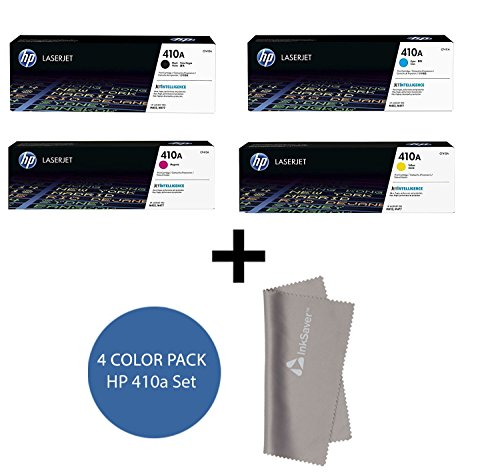 HP 410A CF410A, CF411A, CF412A, CF413A TONER SET BCYM LaserJet Pro M452 MFP M477 + InkSaver MicroFiber LCD Screen Cleaning Cloth by HP