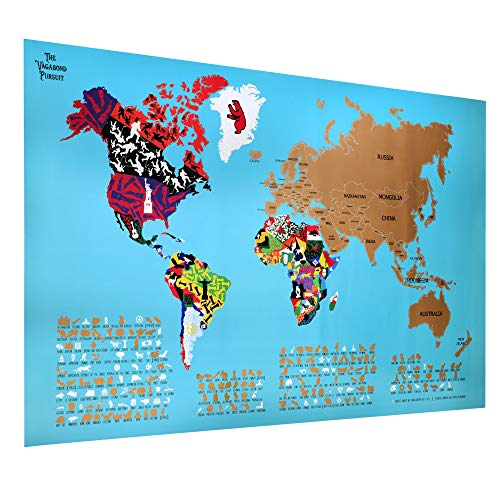"Wall Maps Cosmopolitan (The Vagabond Pursuit Deluxe Scratch Off World Travel Map, Unique World Map Poster on 33"" X 22"" Quality Glossy Paper + Scratch Tool and Decorative Protective Cardboard Tube, Gift Map, Kids & Adults)"