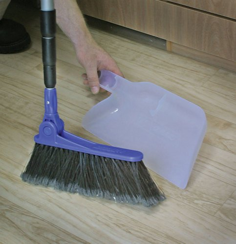 Camco Adjustable Broom and Dustpan, Adjusts From 24 Inches to 52 Inches, Ideal for RV, Marine, And Home Use