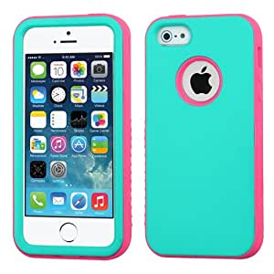 ToPerk VERGE Dual Layer Armor Case For Iphone 5S / 5 (Include a Cystore ? Stylus Pen) - Teal Green/Lightning Electric Pink