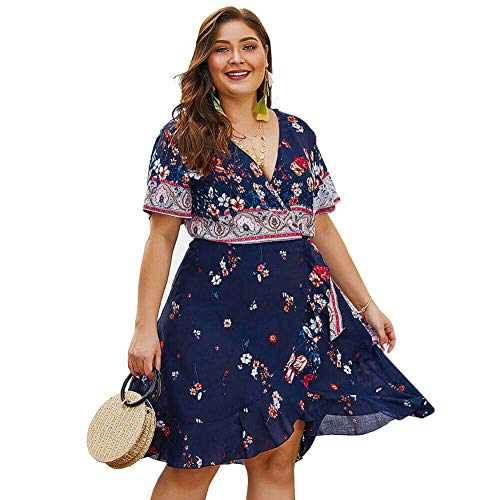 Holagift Women's Plus Size Dress Boho Floral Print Belt Tie Wrap Casual Summer Beach Dress (Navy, 14W)