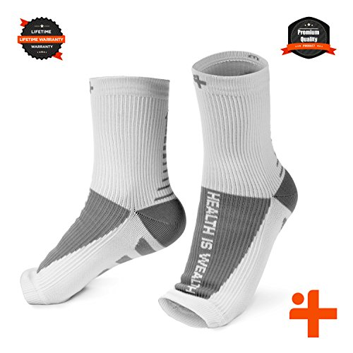 Plantar Fasciitis Relief Compression Socks: Health Is Wealth Anti Fatigue Medical Sock Sleeve for Men and Women - Improves Blood Circulation, Provides Relief for Swelling, Cramps (White, Large)