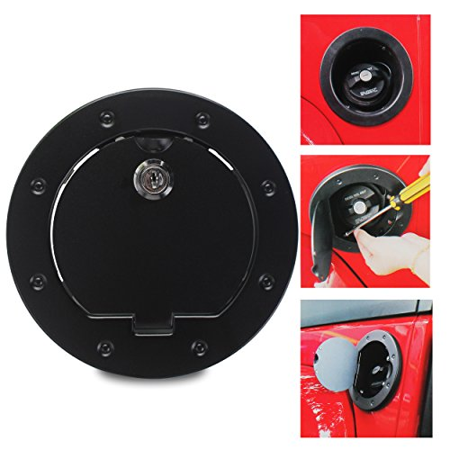 Amooca Black Powder Coated Steel Gas Fuel Tank Gas Cap Cover Accessories for 2007-2017 Jeep Wrangler JK & Unlimited with Lock