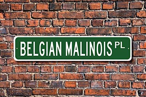 - Fhdang Decor Belgian Malinois, Belgian Malinois Gift, Belgian Malinois Sign, Dog Lover Gift, Custom Street Sign, Metal Sign, 4