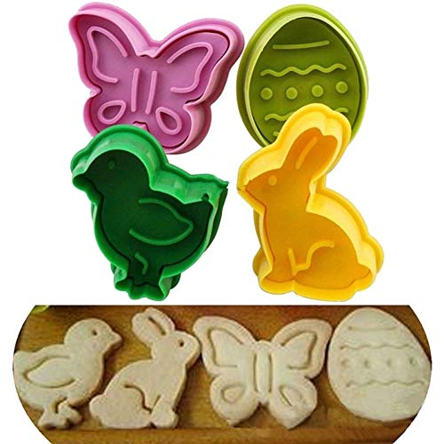 Cake Mold Maserfaliw 4Pcs Easter Egg Rabbit Chick Cake Fondant Plunger Cutter Cookie Biscuit DIY Mold - Random Color, Hot Home Decorations, Easter And Other Holiday Gifts. -