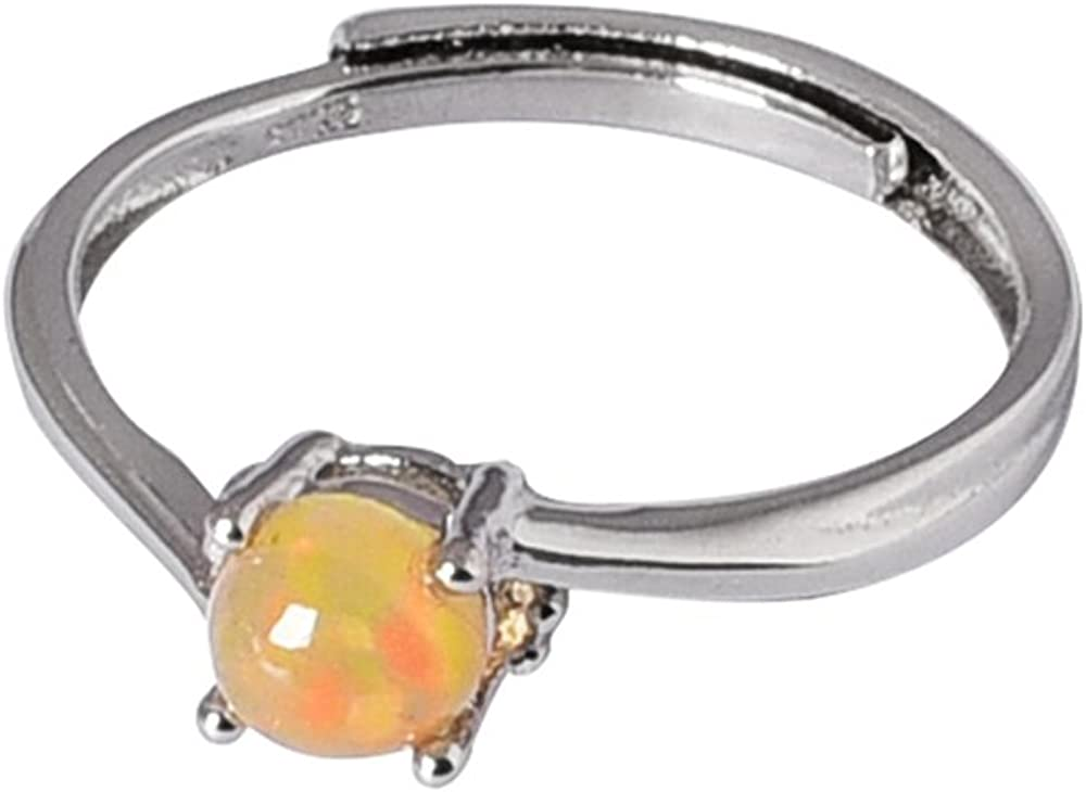 CYMO JEWELRY 925 Sterling Silver Ring Circle Opening Opal Rings