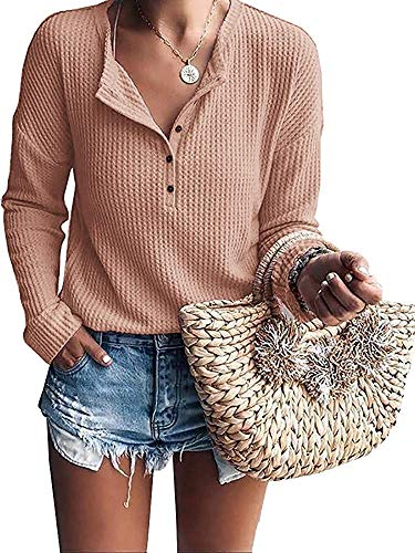 Sleeve Henley Girls Knit Long - Mafulus Womens Waffle Knit Tunic Tops Loose Long Sleeve Button Up V Neck Henley Shirts Khaki