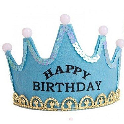 Happy Birthday Party Rave Kid's Tiara Costume Accessory Light Up Flashing LED Princess Crown Hairband Hair Hoop Headband - Happy Birthday ... (Blue) -