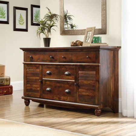 Sauder Harbor View Dresser, 4 drawers with metal runners and safety stops (Curado Cherry) - Oak View Cherry