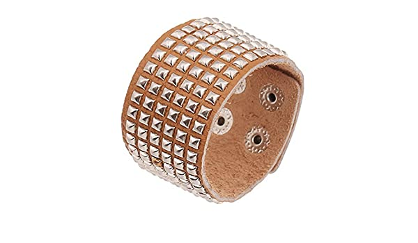 Brown Silver SumBonum Jewelry Mens Alloy Leather Cuff
