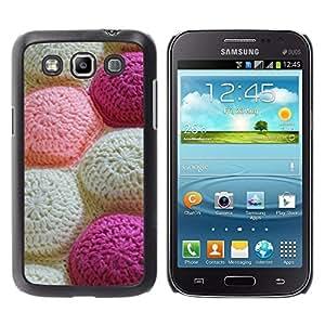 Be Good Phone Accessory // Dura Cáscara cubierta Protectora Caso Carcasa Funda de Protección para Samsung Galaxy Win I8550 I8552 Grand Quattro // Knitting Handycraft White Art Patter