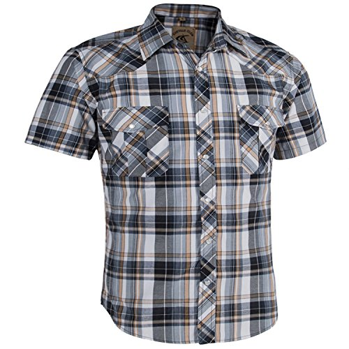 Coevals Club Men's Casual Plaid Snap Front Short Sleeve Shirt (White / yellow #2, S)