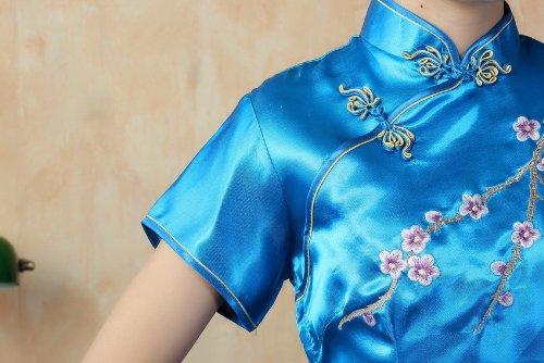 JTC Femme Robe avec Fleur Brodé Chinoise de soirée Longue Cheongsam avec Manche Qipao en Soie Artificielle Pers