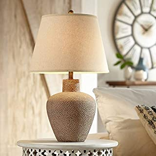 Bentley Rustic Table Lamp Hammered Metal Pot Brown Leaf Off White Empire Shade for Living Room Family Bedroom Bedside Office - 360 Lighting
