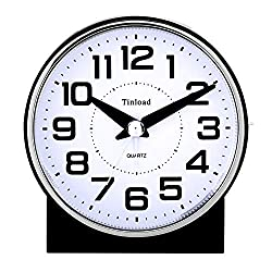 Tinload 4 Silent Analog Alarm Clock Non Ticking, Gentle Wake, Beep Sounds, Increasing Volume, Battery Operated Snooze and Light Functions, Easy Set (Black)