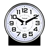 Tinload 4' Silent Analog Alarm Clock Non Ticking, Gentle Wake, Beep Sounds, Increasing Volume, Battery Operated Snooze and Light Functions, Easy Set (Black)