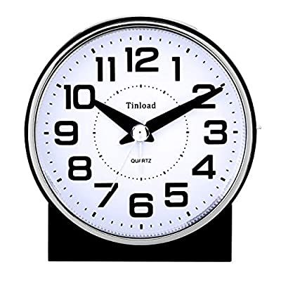 "Tinload 4"" Silent Analog Alarm Clock Non Ticking, Gentle Wake, Beep Sounds, Increasing Volume, Battery Operated Snooze and Light Functions, Easy Set (Black) - Unique Simple Retro Styling-- Alarm clock stands up at an angle, high quality plastic, round face with white dial, black Arabic numerals, good decoration for tabletop, desk & shelf, bedrooms. Completely Silent-- Super quiet concise design alarm clock without annoying tick tock sound, ideal for those who need complete silence to fall asleep. Snooze and Light Function-- Snooze and light button locates on easy-to-find top place. Hold button down for 5 minutes snooze or to light up the clock face.The light will light up for 6 seconds and then shut down Automatically ,very easy to see time at night. - clocks, bedroom-decor, bedroom - 51PMXY7qSML. SS400  -"