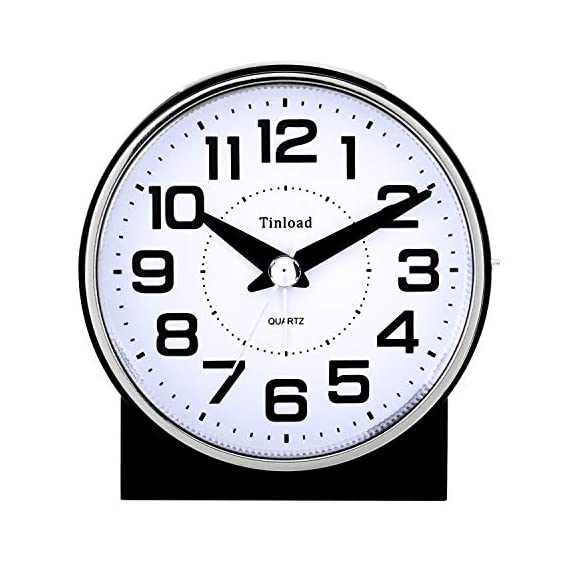 """Tinload 4"""" Silent Analog Alarm Clock Non Ticking, Gentle Wake, Beep Sounds, Increasing Volume, Battery Operated Snooze and Light Functions, Easy Set (Black) - Unique Simple Retro Styling-- Alarm clock stands up at an angle, high quality plastic, round face with white dial, black Arabic numerals, good decoration for tabletop, desk & shelf, bedrooms. Completely Silent-- Super quiet concise design alarm clock without annoying tick tock sound, ideal for those who need complete silence to fall asleep. Snooze and Light Function-- Snooze and light button locates on easy-to-find top place. Hold button down for 5 minutes snooze or to light up the clock face.The light will light up for 6 seconds and then shut down Automatically ,very easy to see time at night. - clocks, bedroom-decor, bedroom - 51PMXY7qSML. SS570  -"""