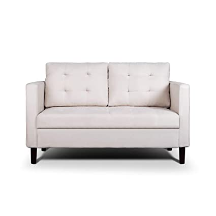 Pleasing Aodailihb Modern Soft Cloth Tufted Cushion Loveseat Sofa Small Space Configurable Couch Almond White Lamtechconsult Wood Chair Design Ideas Lamtechconsultcom
