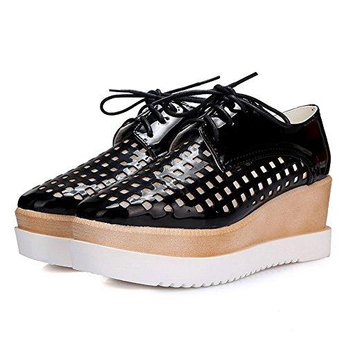 AllhqFashion Mujeres Material Suave Puntera Cuadrada Tacón Medio Zapatos de Tacón Negro