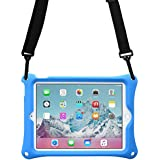 Cooper Bounce Strap Shoulder Strap Rugged Case Compatible with Apple iPad Air 2, iPad Pro 9.7 | Shock Proof Heavy Duty Cover with Stand, Hand Strap | Kids Adults Boys | A1673 A1674 A1566 A1567 (Blue)